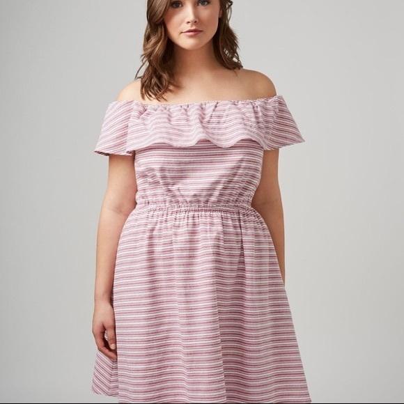 2d990060a112 Lane Bryant Dresses & Skirts - ⚡ Lane Bryant Red Striped Off The Shoulder  Dress